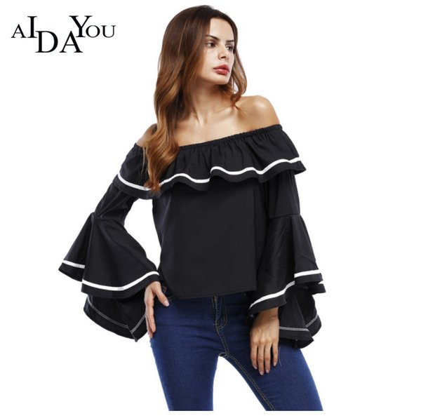 Lady T-shirt Strapless Tops Collar Flounce Horn Sleeve loose T-Shirts for Women Black White for Party Causal Tops ouc3013