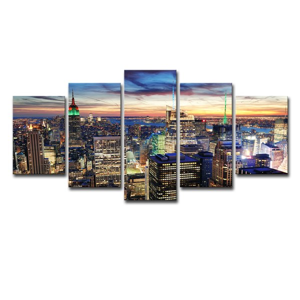 Canvas HD Prints Posters Wall Art 5 Pieces New York City Skyscrapers Nightscape Paintings Building Pictures Home Decor Framework