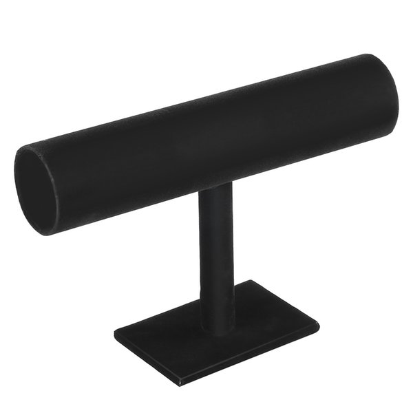 Black Velvet/Leather T Bar Rack Organizer Hard Stand Holder for Bracelet Chain Necklace Watch Fashion Jewelry Display &7