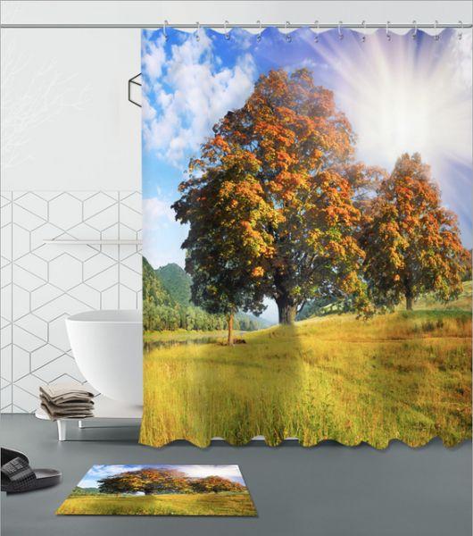 Prairie landscape 3D pattern Print Custom Waterproof Bathroom Modern Shower Curtain Polyester Fabric Bathroom Curtain Door mat sets