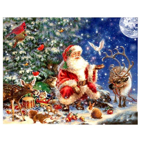 5d Full Christmas Scenic Round Diamond pintura punto de Cruz decoración del hogar cuadrado lleno de diamantes bordado regalo de Santa Claus hecho a mano