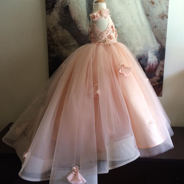 Ball Gown Girls Pageant Dresses Communion Dresses For Girls With Beading Flower Girl Dress Kids Prom Evening Gowns