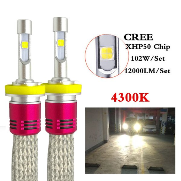 1Set For Cree Chips XHP-50 104W 12000LM Auto LED Headlights H4 H7 H11 9005 9006 Car LED Fog Lamp lighting 4300K Replace xenon Halogen lamp