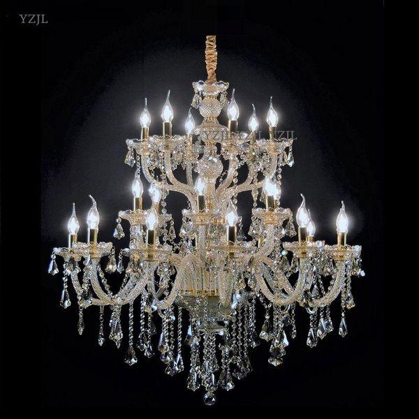 Hotel Grande pingente lustre de cristal led vela lustre iluminação cabeças grande sala de estar lustre penthouse led lamparas