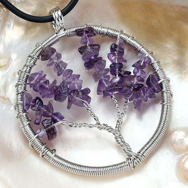 Minimalist Sliver Plated Wire Wrap Amethysts Tree Of Life Carnelian Pendant Fashion Jewelry