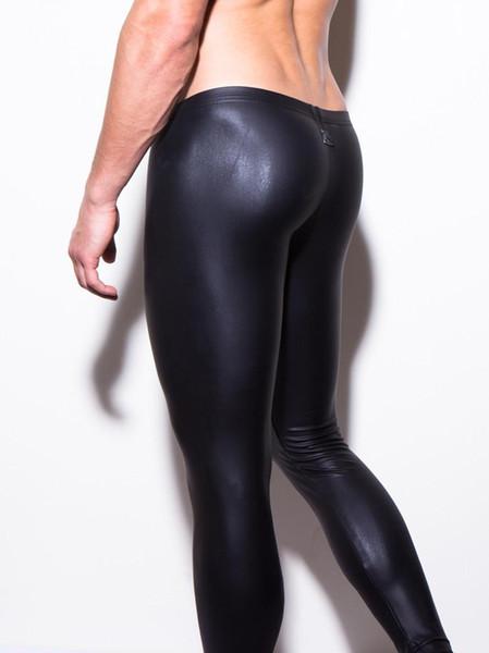 Erkek uzun pantolon sıkı moda sıcak siyah Faux deri seksi boksör iç çamaşırı seksi külot pantolon moda kıyafeti