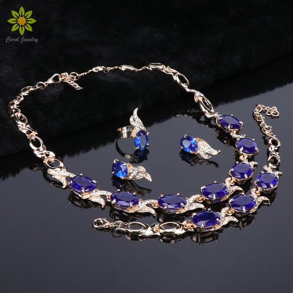 Jewelry Sets For Brides Women 2018 Hot Blue Crystal Stone Oval Pendant Wedding Gold Plated Earrings Ring Bracelet Necklace Set