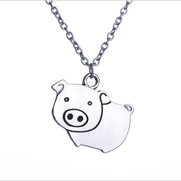 New cute cartoon pig women necklace pendant fashion creative pet pig style necklace lazy cute jewelry pendant