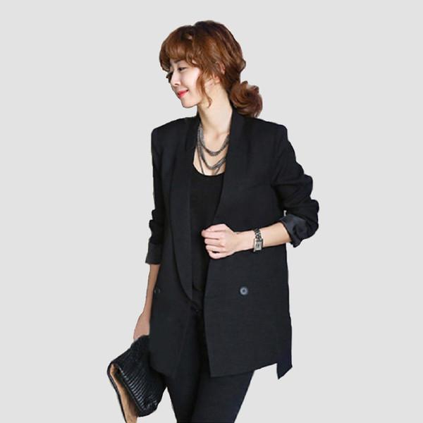 Femmes blazer casual veste noire à manches longues femme manteau col manteau long style blazers feminino formelle bureau dames outwear Y18110701