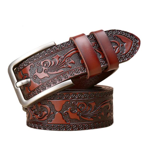 news Mens Belts  Genuine Leather Vintage Carving West Men Belt Leather Pattern Ceinture Homme Retro Male Jeans Belt