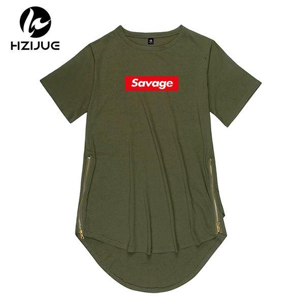 2018 새로운 브랜드 사이드 지퍼 확장 남자 망 힙합 긴 오버 사이즈 티셔츠 티셔츠 야만인 힙합 스타일 의류 의류 KANYE