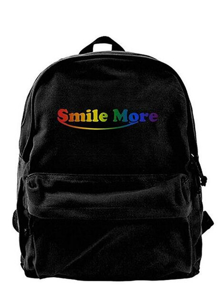 Smile More Canvas Shoulder Backpack Backpack For Men & Women Teens College Travel Daypack Black
