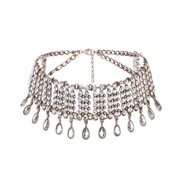 Collana girocollo in nappa con strass di cristallo di lusso con collane - Collana punk ampia di moda per matrimoni