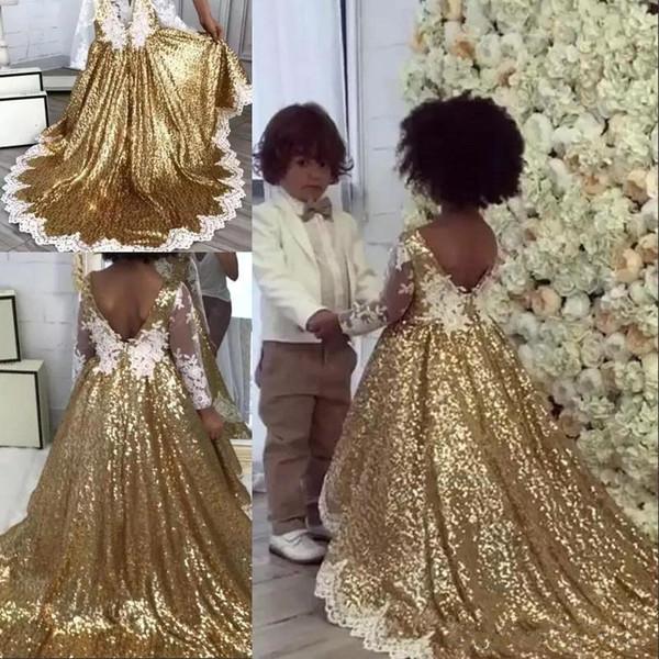 2019 Altın Sequins Bir Çizgi Çiçek Kız 'Elbiseler V Boyun Uzun kollu Dantel Aplike Yay Kanat Bir Çizgi Doğum Günü Kızların Pageant Dresse BC0361s