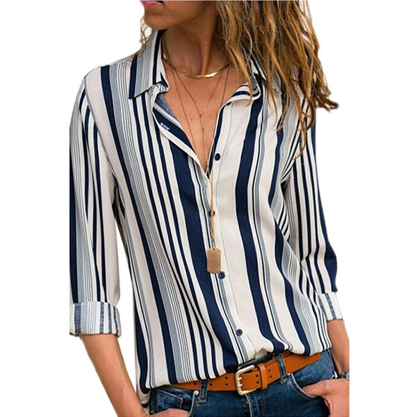 2018 Autumn New Casual Women's Shirts Floral Print Female Tops Long Sleeve Turn-down Ladies Blouse Fashion Striped Blouse