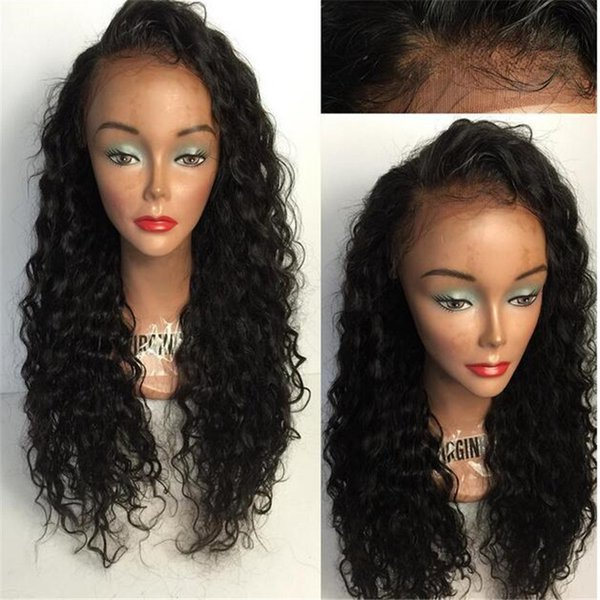 Wholesale Black Loose Curly Long Wigs With Baby Hair Brazilian Glueless Lace Front Full Lace Women Human Hair Lace Wigs for Black Women