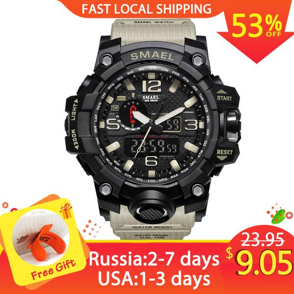 Men Military Watch 50m Waterproof Wristwatch LED Quartz Clock Sport Watch Male relogios masculino 1545 Sport S Shock Watch Men C18110601
