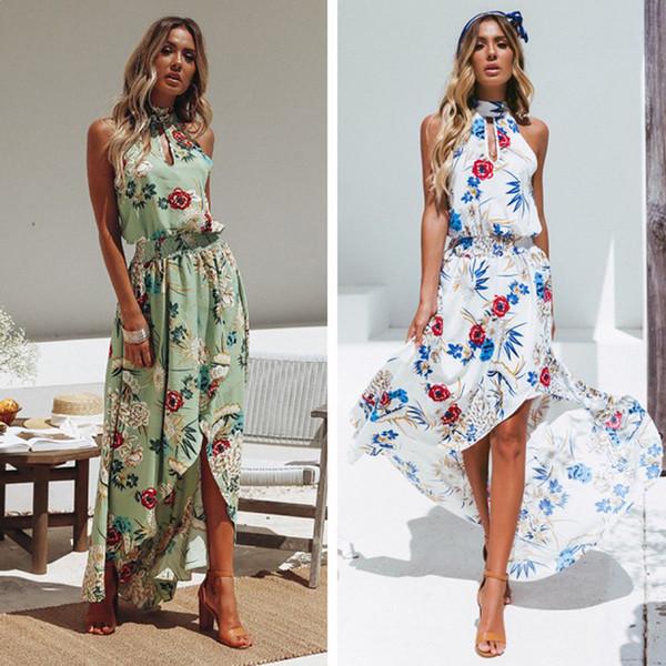 Women Fashion Sweet Elegant Summer Dress 2 Style Floral Print Ruffles Sleeveless Halter High Waist Ankle-length Dress Size S-XL