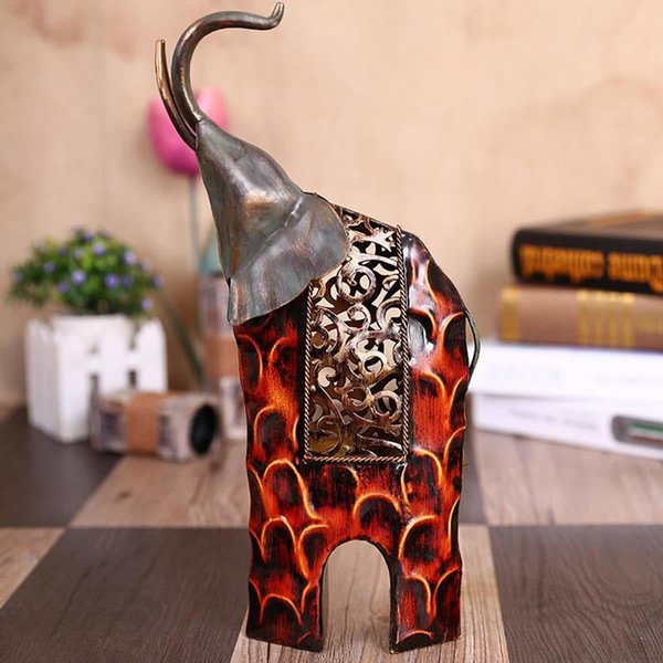 Modern Handcrafts Metal Art Crafts Raising Head Iron Art Elephant Figurines Sculpture Ornament Articles Handicrafts Home Decoration Gift