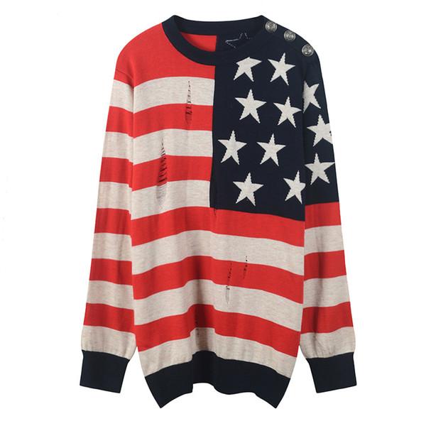 Acquista 2018 Rosso Nero A Righe Bandiera Americana Ricamo Pullover Donne Marchio Stesso Stile Maglieria Maglioni Donna Stile Pista Maglioni