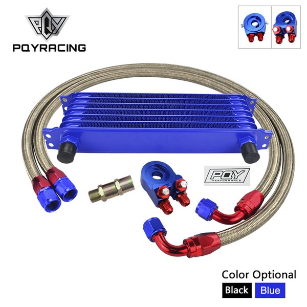 UNIVERSAL 7ROWS OIL COOLER KIT + OIL FILTER SANDWICH ADAPTER+ STAINLESS STEEL BRAIDED OIL HOSE WITH PQY STICKER+BOX PQY5107+6721+KIT2/(6723)