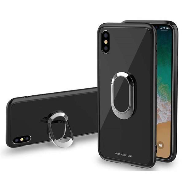 Tempered Glass Hybrid Metal Ring Magnetic Back Cover TPU Bumper Bracket Case Car Mount Holder Shockproof For iPhone X 8 7 6S Plus OPP