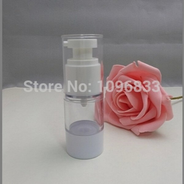 15ML Vacuum Bottle with Lotion Pump, Transparent Airless Bottle White Pump, 15G Cosmetic Essence Packaging Bottle, 40 PCS/Lot
