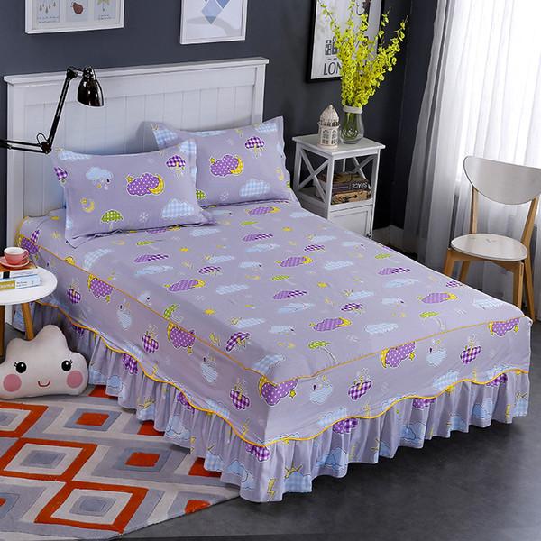 Super doux lit jupe style européen 100% coton étoiles blanc nuages motif d'impression literie douce et respirante décoration