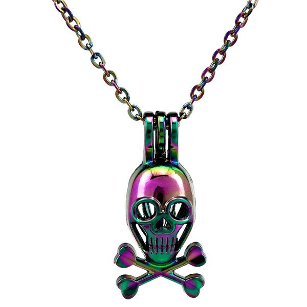C214 Rainbow Color Skull Cross Bone Beads Cage Pendant Essential Oil Diffuser Aromatherapy Pearl Cage Locket Pendant Necklace