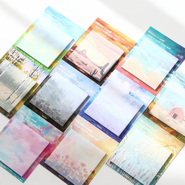 10 unids / lote Pintura al óleo pintada notas adhesivas Mensaje de lágrima de color simple álbum de recortes Adhesivo decorativo bloc de notas de papelería 9022