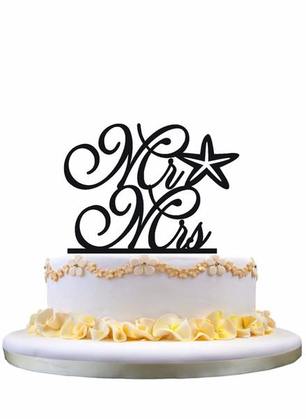 Meijiafei Cursive Mr and Mrs Starfish Beach Nautical Wedding Cake Topper
