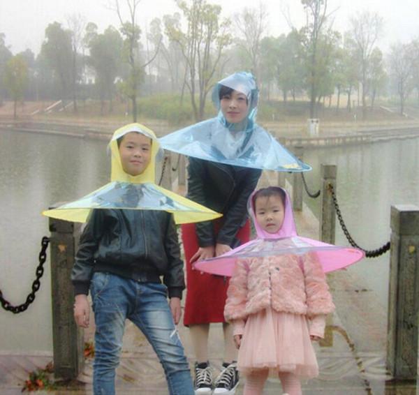 Creative Umbrella Raincoat En Plein Air Enfant Rain Couverture Manteau Chapeaux Chapeaux Chapeau Cap En Plein Air De Pêche Golf Couverture Adulte Transparent Parapluies Raincoat