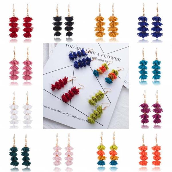 Long Tassel Dangle Earrings 4 Layers Cloth Flower Tassel Earrings For Women Colorful Long Tassel Earring Cute Ethnic Earring D934S