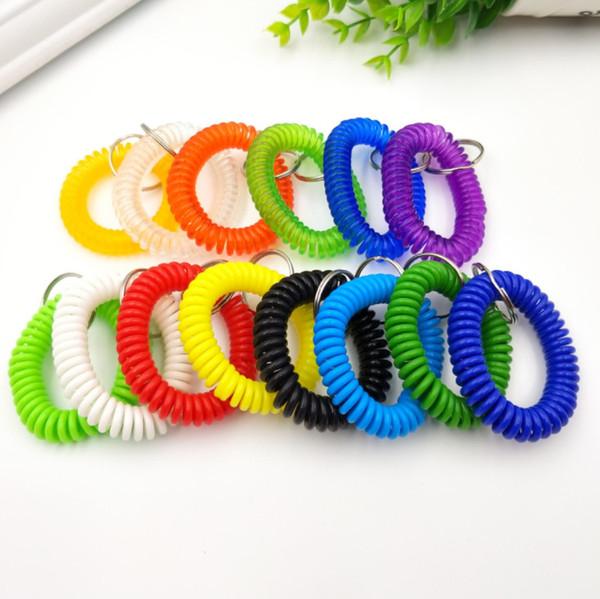 2018 new hot sale Plastic coils, telephone lines, plastic spring keys, hand rings, key rings, bracelets