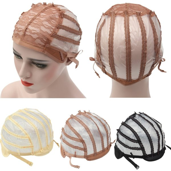 New 1pcs Wig Cap Top Stretch Mesh Caps Weaving Cap Back Adjustable Strap Hair Net For Making Wigs Black Beige Coffee 3 Color free shipping