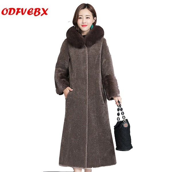 Sheep sheared coats female 2019 winter tide fox fur was hooded fur collar women's jacket medium long plus size one coat