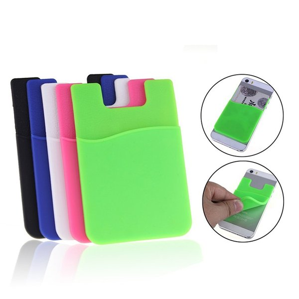 2018 Low price Silicone Wallet Credit Card Cash Pocket Sticker Silicone business credit mobile phone wallet Card Holder for iphone/samsung