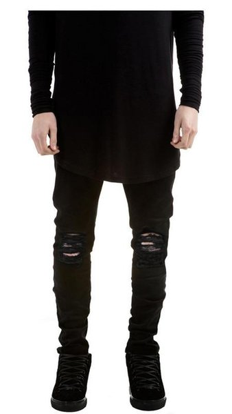 2018 NEW Wholesale-new mens jeans ripped jeans for men skinny Distressed slim famous brand designer biker hip hop swag black slim jeans