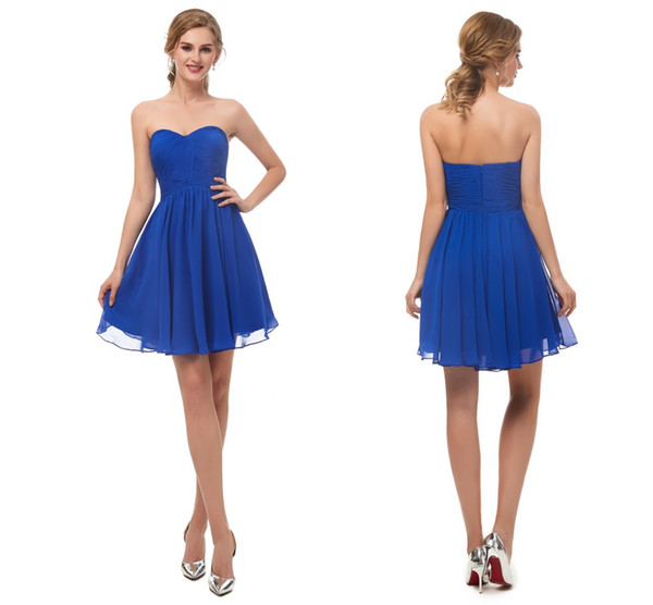 Schatz Royal Blue Short Graduation Dress 8. Klasse ärmellose A-Linie Chiffon Prom Kleider Mini Heimkehr Cocktailkleid