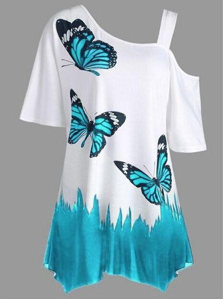 Femmes Mode Papillon Imprimer Tunique T-shirt Coton D'été T-shirt Femmes Crop Top Manches Courtes T-shirt Plus La Taille S-5XL