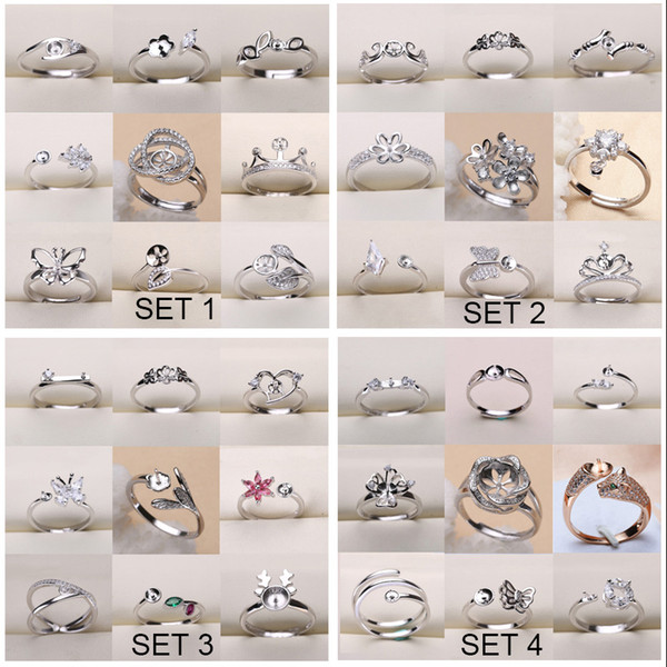 best selling Fashion DIY 925 Silver Pearl Ring Settings Sliver Plated Rings Settings 36 Styles DIY Rings Adjustable size Jewelry Settings Christmas Gift