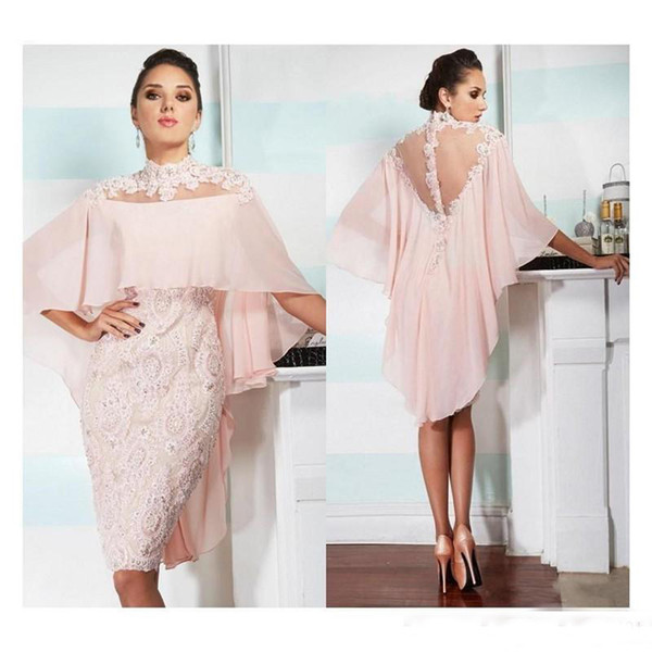 Pink Sheath Evening Dresses 2018 Knee Length Lace Applique Beads High Neck Chiffon Mother Prom Gown Short Homecoming Party Mother Dresses