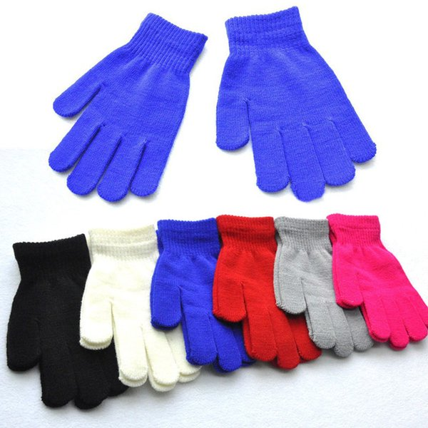 12-15 Years Old Student Winter Warm Gloves Girl Boy Multicolor Pure Knitted Finger Glove 6 Colors For Friends Best Gift H925Q