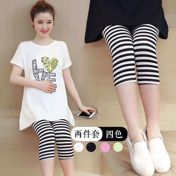 T100% Cotton Short Sleeve Loose Casual T-Shirt Batwing Tops Blouses Maternity T-Shirt with Stripe Pants For Pregnance Women Wear