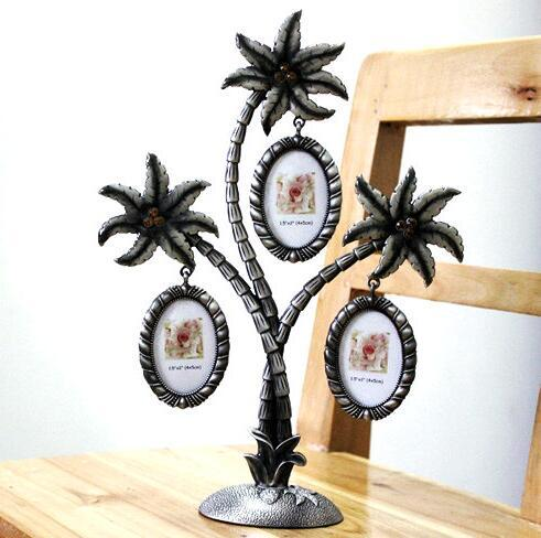 Factory Direct Coconut Tree Photo Frame Wall Hanging Picture for 3 small Photos Alloy Art Crafts Frame Home Decor Christmas Gift