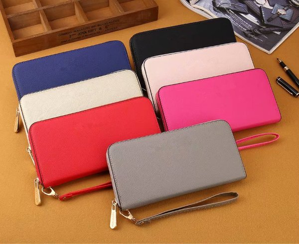 wholesale 2018 famous brand fashion single zipper cheap luxury designer women pu leather wallet lady ladies long purse#0033