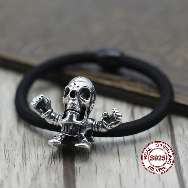 S925 cuerda de pelo de plata esterlina y cuerda de mano Personalidad estilo punky retro Accesorios de moda en forma de corazón de sable Enviar un regalo