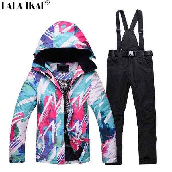 LALA IKAI 2018 Snowboarding Suit Women Jacket+Pants Thermal Waterproof Thick Skiing Sets Women's Ski Wear Jackets HWA1943-45