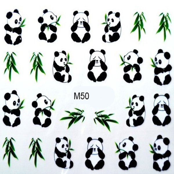 ticker sheet New Manicure Design 3D Water Transfer Printing Nail Stickers Water Decals Cute Panda DIY Nail Art Decorations Stickers For N...