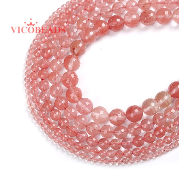 Natural Stone Faceted Pink Cherry Quartz Loose Beads Faceted Red Watermelon Stone 4 6 8 10 12MM Pick Size For Jewelry Making